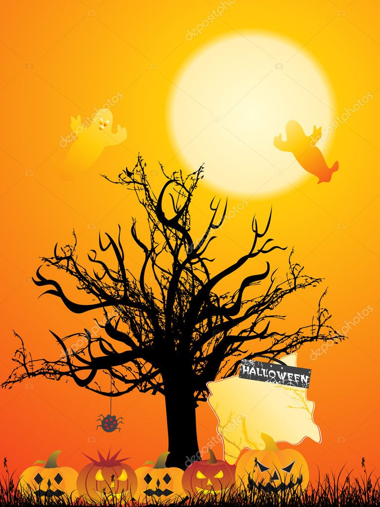 Orange background with halloween elements — Stock Photo #3035029