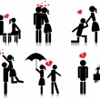Romantic couple silhouette - Stockvectorbeeld