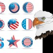 Button in us flag color, eagle head — Imagens vectoriais em stock