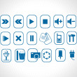 Stock Vector: Online icons, blue