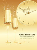 Set of wine glass, watch — Stock Vector