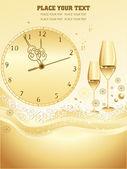 Golden watch, set of wine glass — Stock Vector