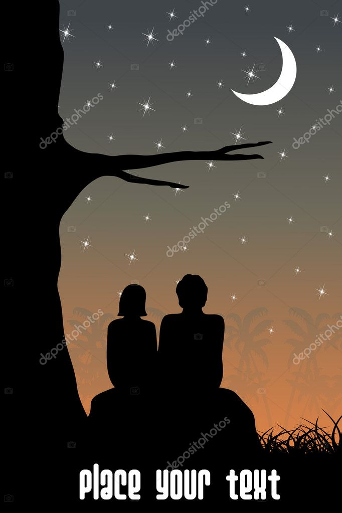 Abstract sunset background with couple sitting in garden — Stock Vector #3031242