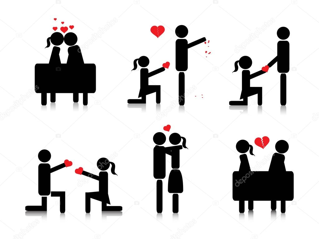 Background with collection of romantic couple silhouette — Stock Vector #3031277