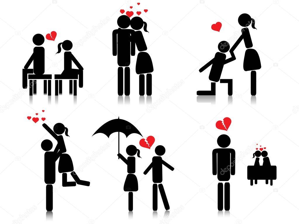 与浪漫情侣剪影,矢量图像背景