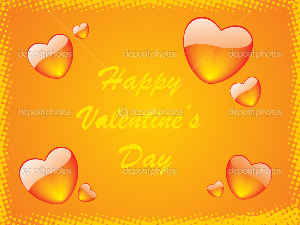 Orange vector frame of hearts theme — Stock Vector #3034985