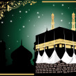 Background with kaaba illustration — Stock Vector