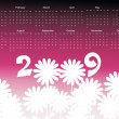 Royalty-Free Stock Vector Image: Calendar for 2009 with florals