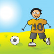 Player no 10 passing football - Stockvectorbeeld