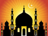 Background with moon, mosque — Stock Vector