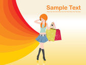 Woman holding shopping bags — Stock Vector
