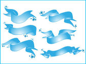 Vector set of blue ribbons — Stock Vector