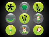 Patrick's day icon set 17 march — Stock Vector