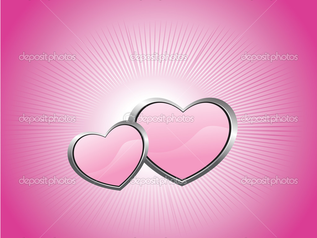 Pink background with two heart, illustration — Stock Vector #3045089