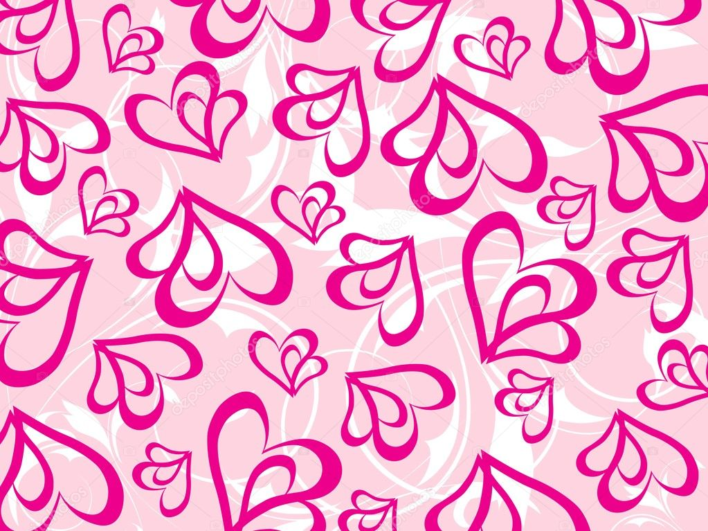 Pink floral and heart, vector illustration  Stock Vector #3045162