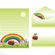 Stock Vector: Rainbow pattern letterhead