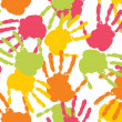 Colorful handprint with background - Stock Vector
