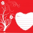 Red floral velentine greeting card — Stock vektor