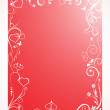 Red frame with floral and hearts — Stock Vector