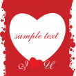 Stock Vector: Red valentines grungy card