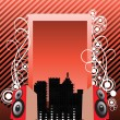 Music city background — Imagen vectorial