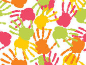 Colorful handprint with background — Stock Vector