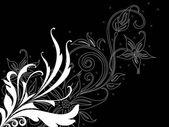 Fundo preto com padrão floral — Vetor de Stock