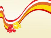 Ondas de vermelhas e amarelas com duas flores — Vetor de Stock