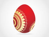 Red egg with golden ornaments — Stock Vector