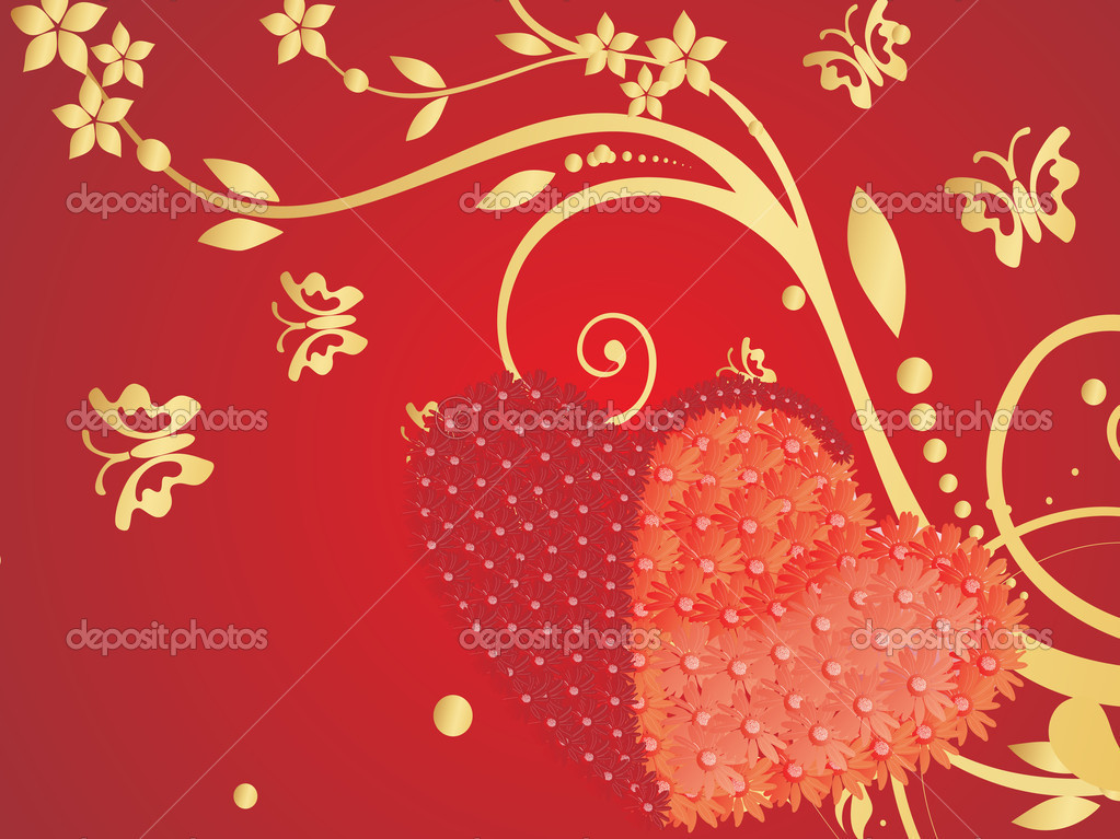 Red valentines background with two heart and floral — Stock Vector #3058195