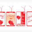 Romantic tags with hearts set in red — Stock Vector