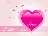 Romantic background with pink heart — Stock Vector