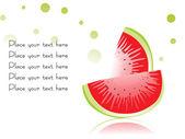 Slice of watermelon on white — Stock Vector