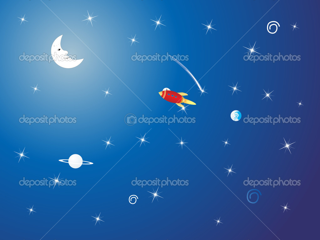 Rocket in the galaxy, illustration — Stock Vector #3068798