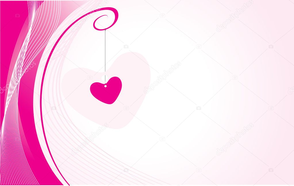 Romantic heart on wavy background, wallpaper — Stock Vector #3068941