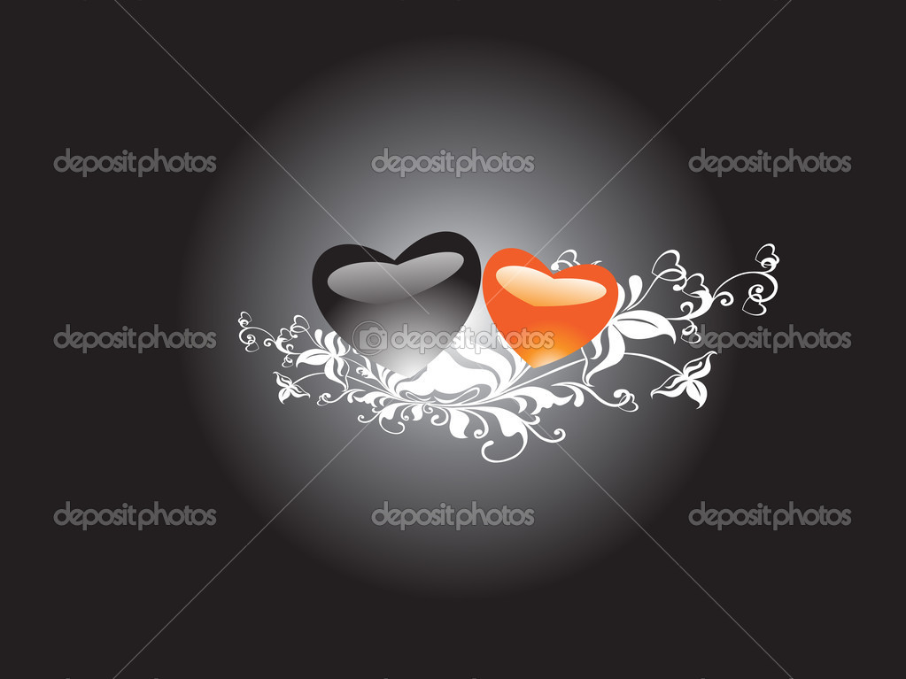 Romantic swirl and floral elements in graient black, wallpaper — Stock Vector #3068953
