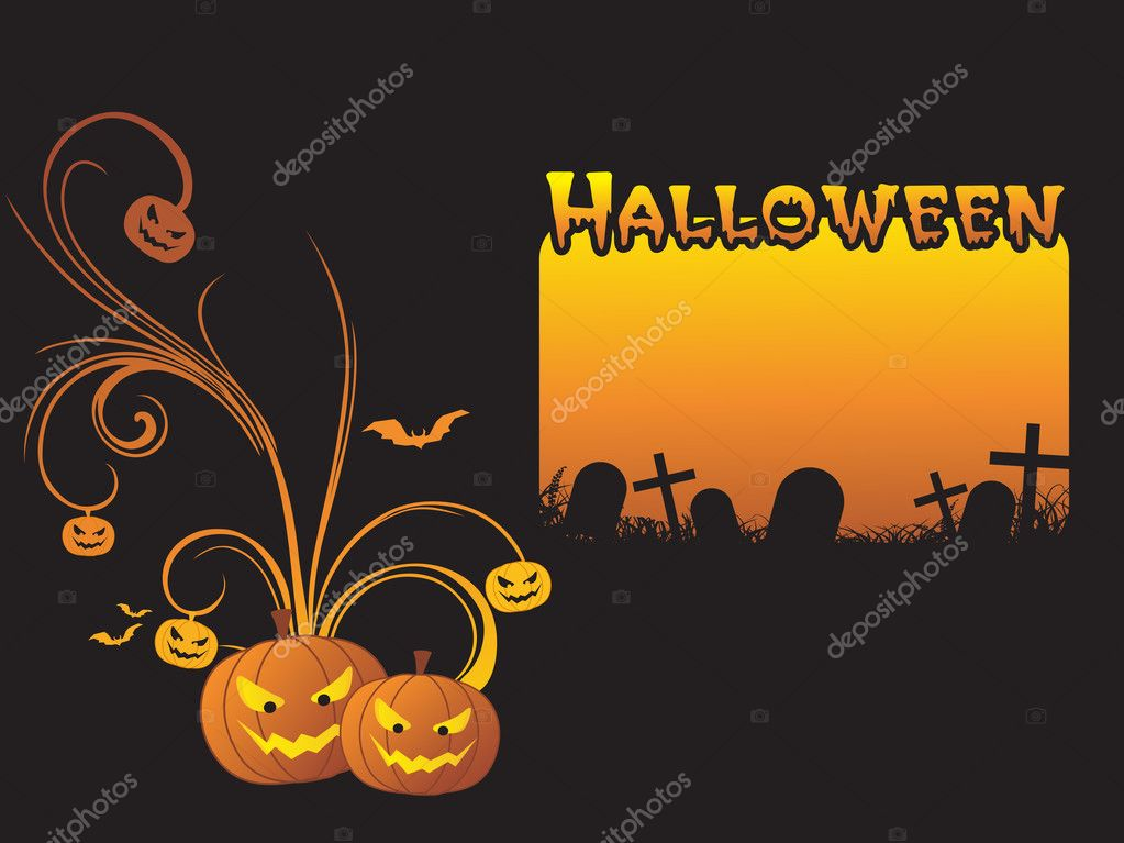 Scary halloween night scene, illustration — Stock Vector #3069986