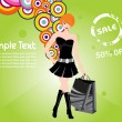 Shopping girl black dress background - Stock Vector