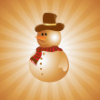 Snowman on golden abstract background — Stock Vector