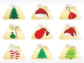 Set of christmas sticker illustration — Stock Vector