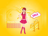 Sexy girl at shopping background — Stock Vector