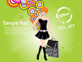 Shopping girl black dress background — Stock Vector