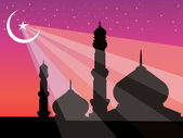 Silhouette of mosques in bright night — Stock Vector