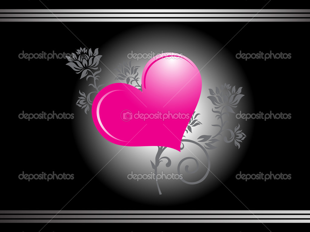 Shiny pink heart on floral background, black vector wallpaper — Stock Vector #3073587