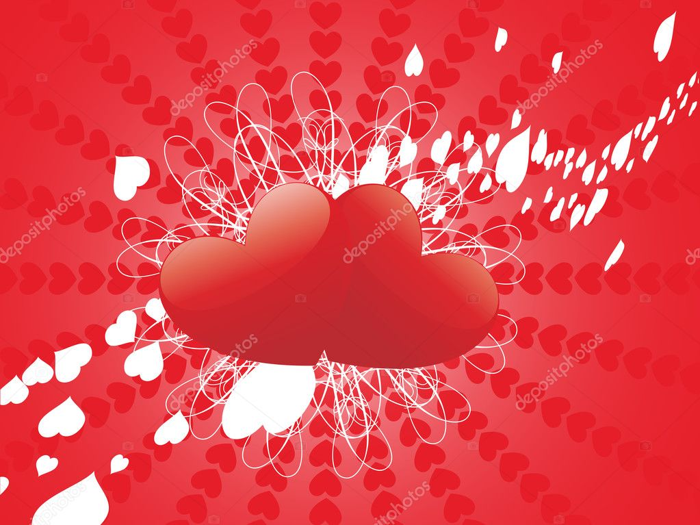 Shiny couple romantic heart, red background — Stock Vector #3073600