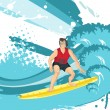 Royalty-Free Stock Vector Image: Surfing man silhouette, wallpaper