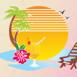 Summer beach scene vector wallpaper — Stock Vector