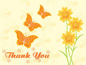 Floral background with thankyou — Stock Vector