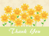 Sunflowers background with thankyou text — Stock Vector