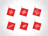 Tags for buy and get free, red — Stock Vector
